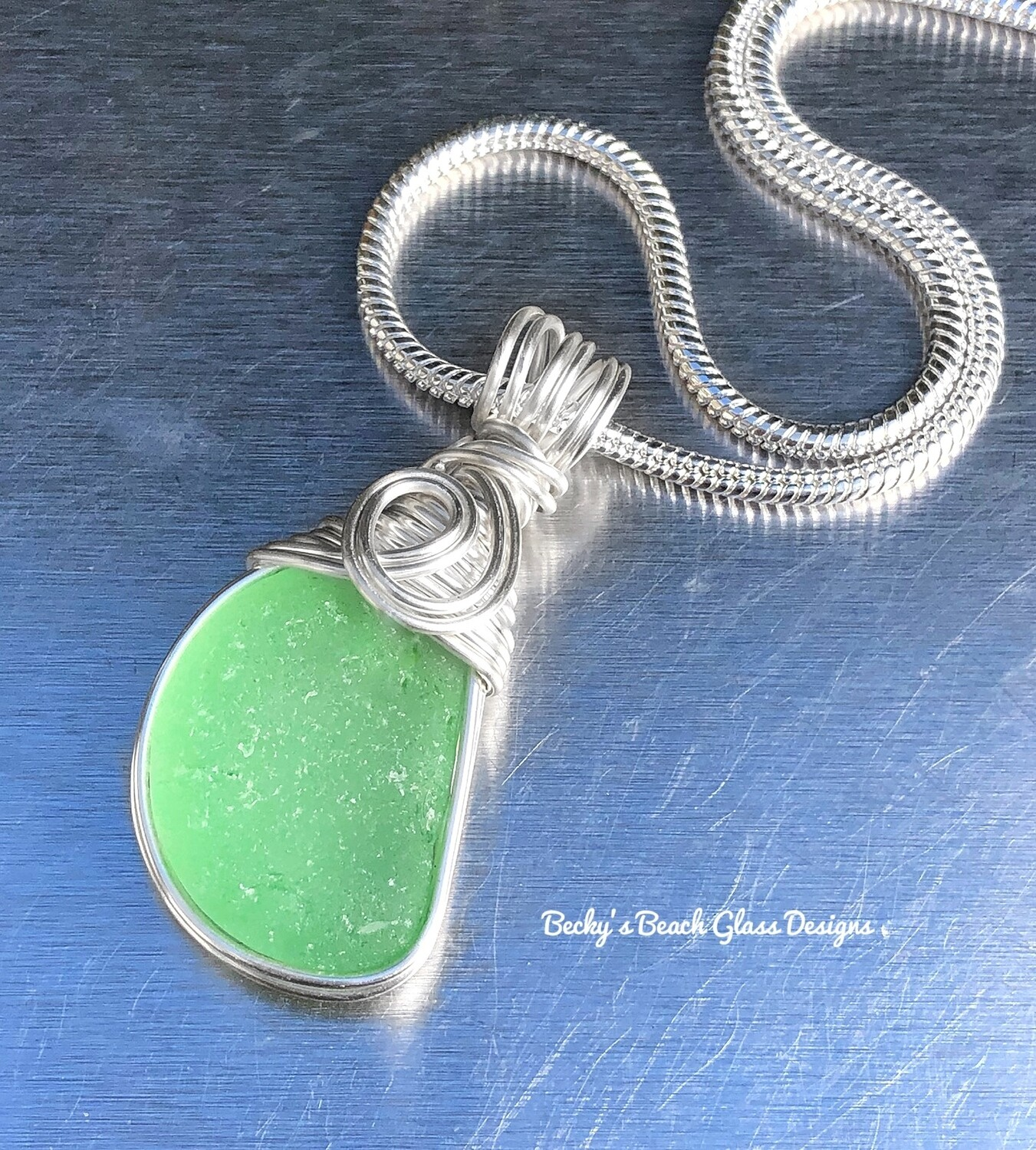 Spring Green Sea Glass Necklace