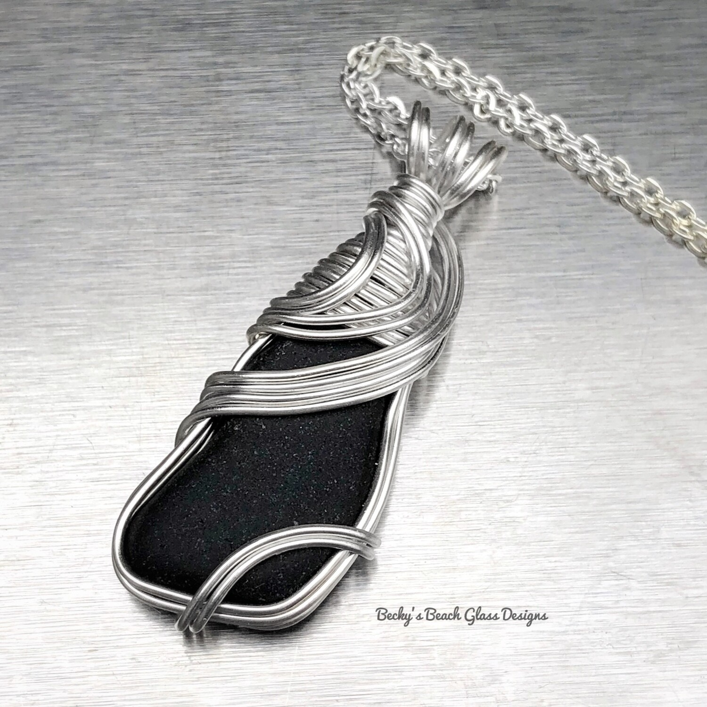 Jet Black Scotland Sea Glass Necklace
