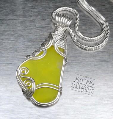 Ultra Rare Neon Highlighter Yellow Sea Glass Necklace