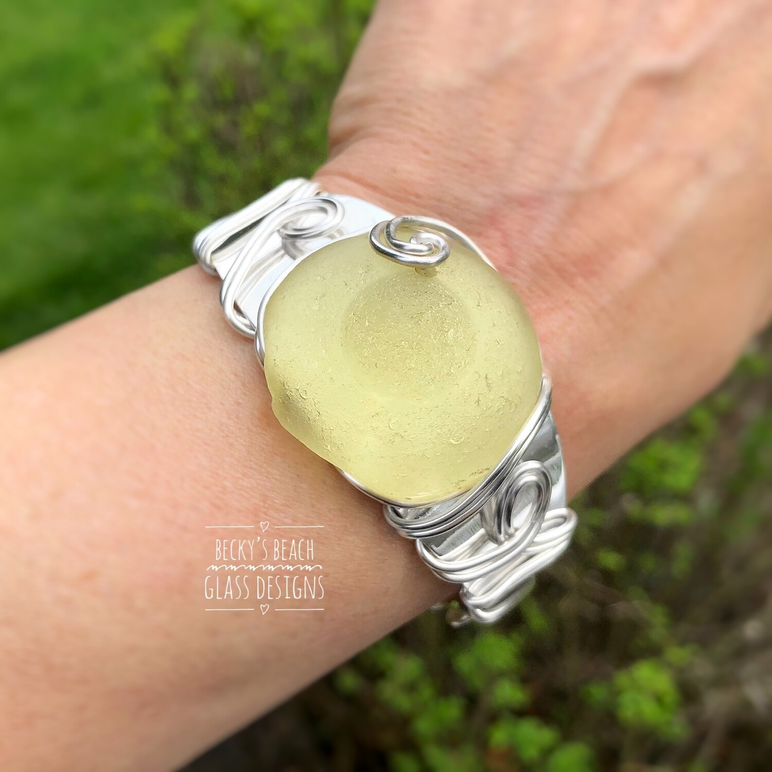 "RARE! Yellow ""Mermaid's Nipple"" Sea Glass Cuff Bracelet"