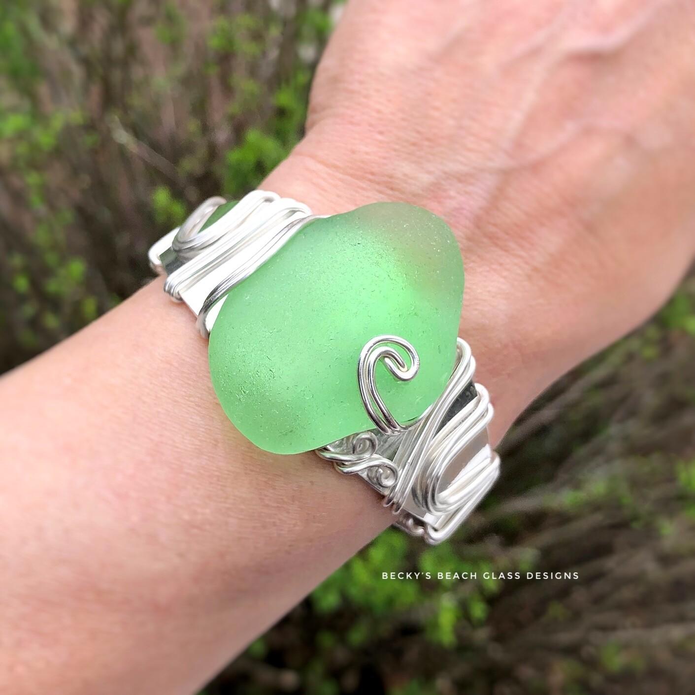 RARE! Bright Spring Green Sea Glass Cuff Bracelet