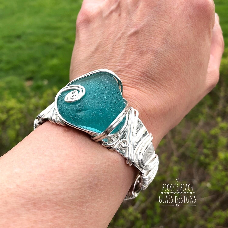 Teal Blue/Green Sea Glass Cuff Bracelet