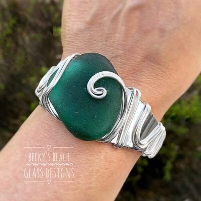 Deep Teal Green Sea Glass Cuff Bracelet