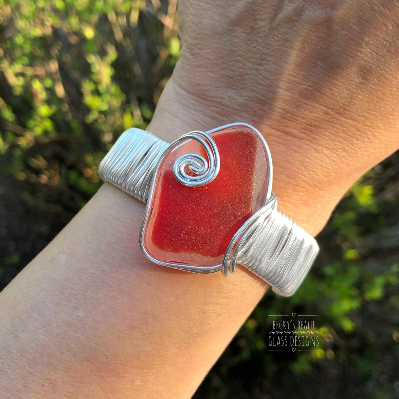 Red Sea Glass Cuff Bracelet
