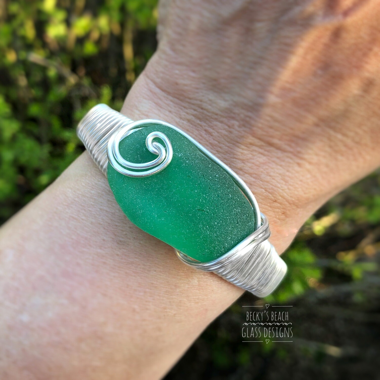 Spring Green Sea Glass Cuff Bracelet