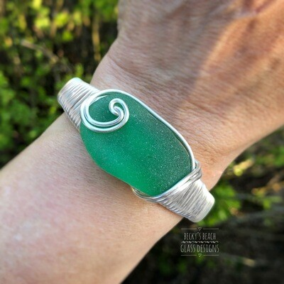 Spring Green Sea Glass Cuff Bracelet