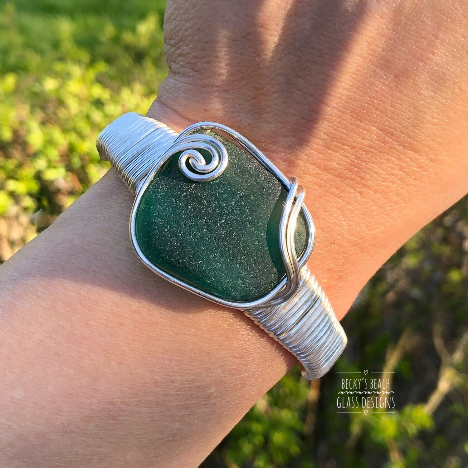 Green Sea Glass Cuff Bracelet