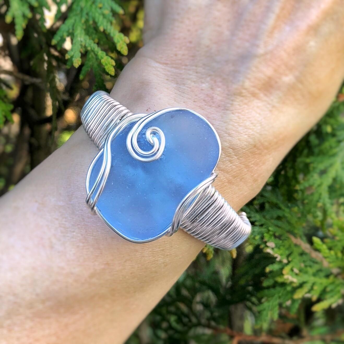 Light Blue Sea Glass Cuff Bracelet
