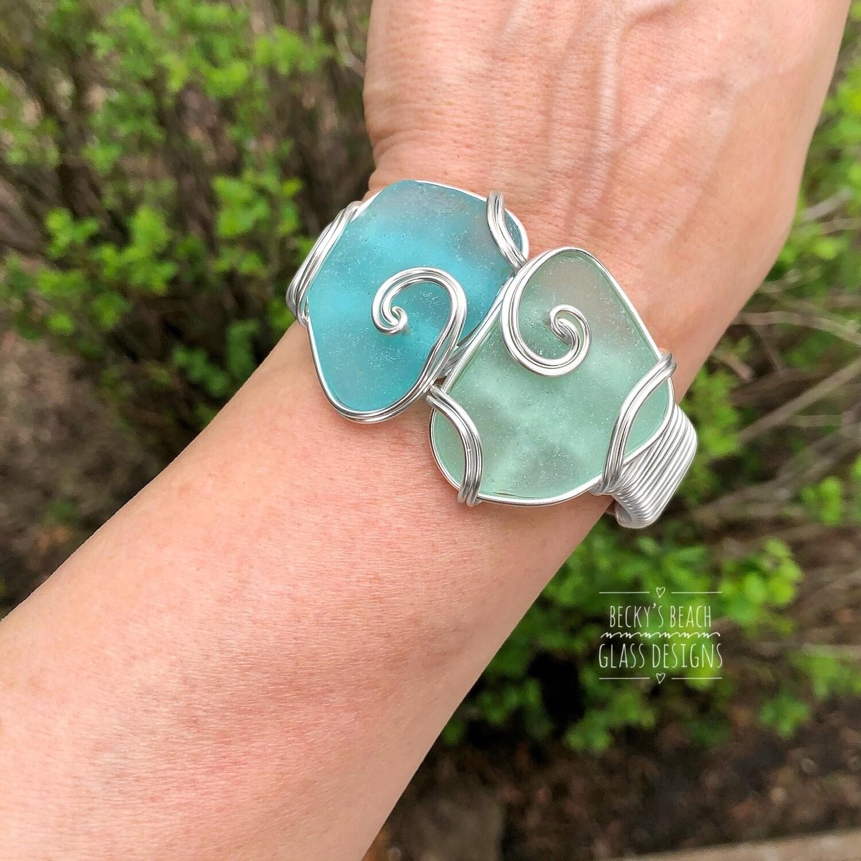 Aqua/sea foam Sea Glass Cuff Bracelet