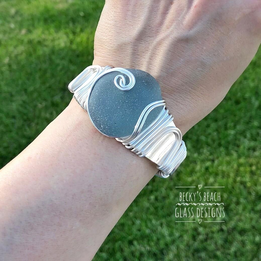 Deep Gray Sea Glass Cuff Bracelet