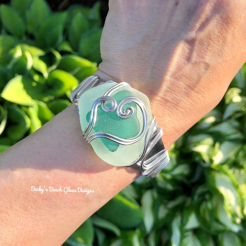 Sea Foam & Teal Sea Glass Stack Cuff Bracelet
