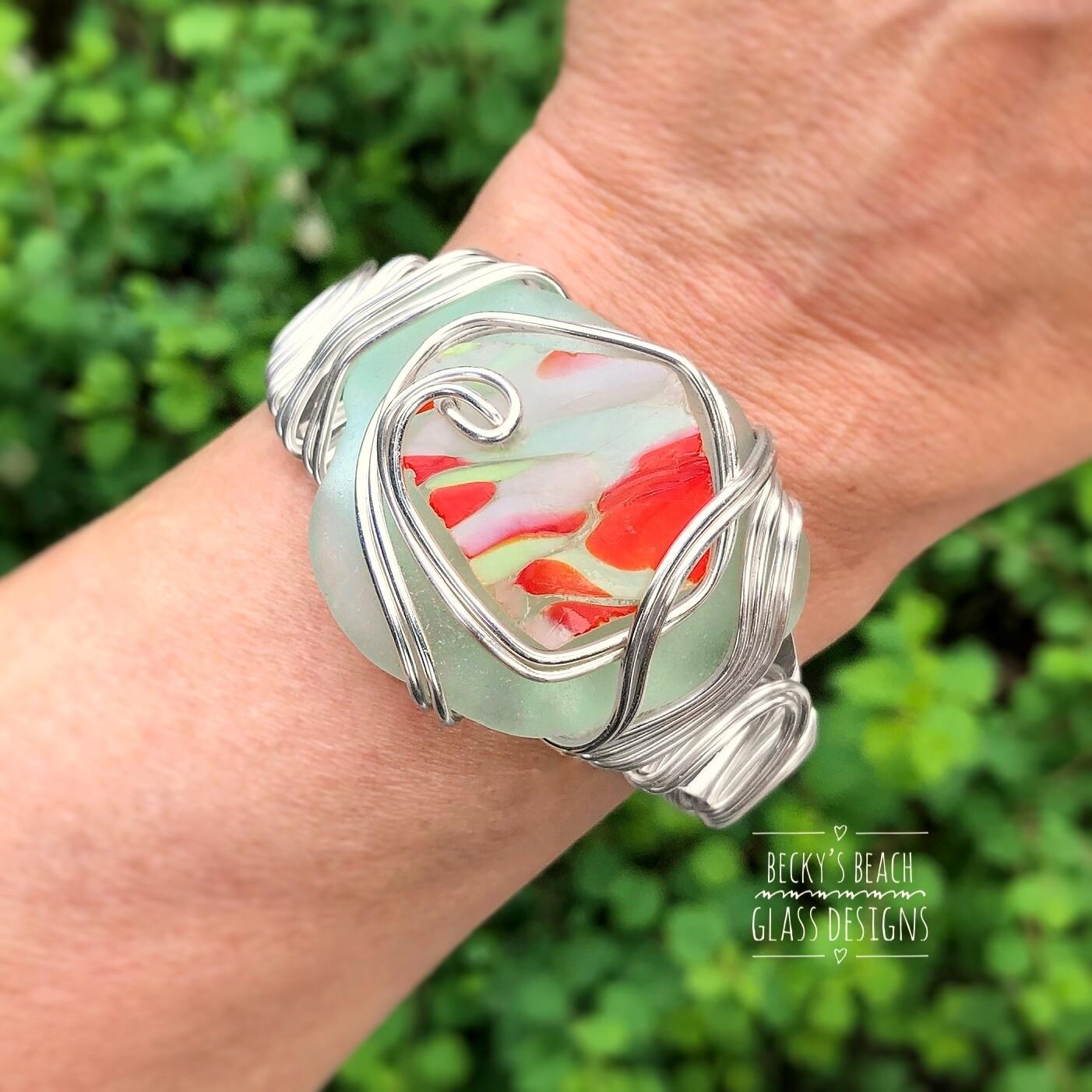 Sea Foam Sea Glass/Art Glass Stack Cuff Bracelet