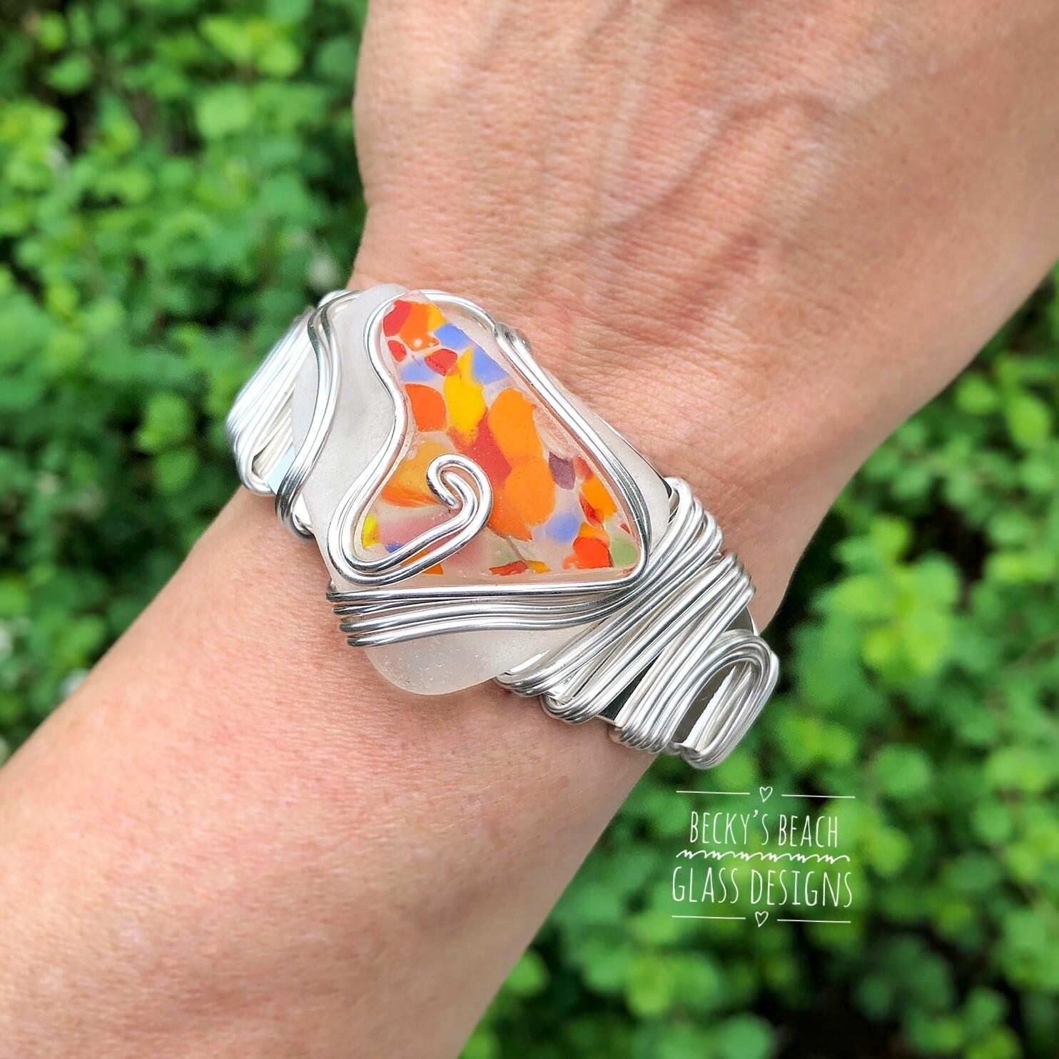 White Sea Glass/Art Glass Stack Cuff Bracelet