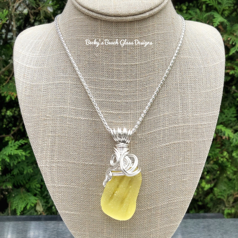 Sunshine Yellow Sea Glass Necklace