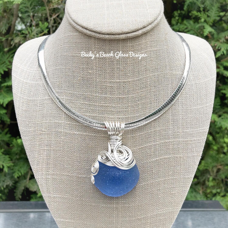 Pacific Blue Mermaid's Nipple Sea Glass Necklace
