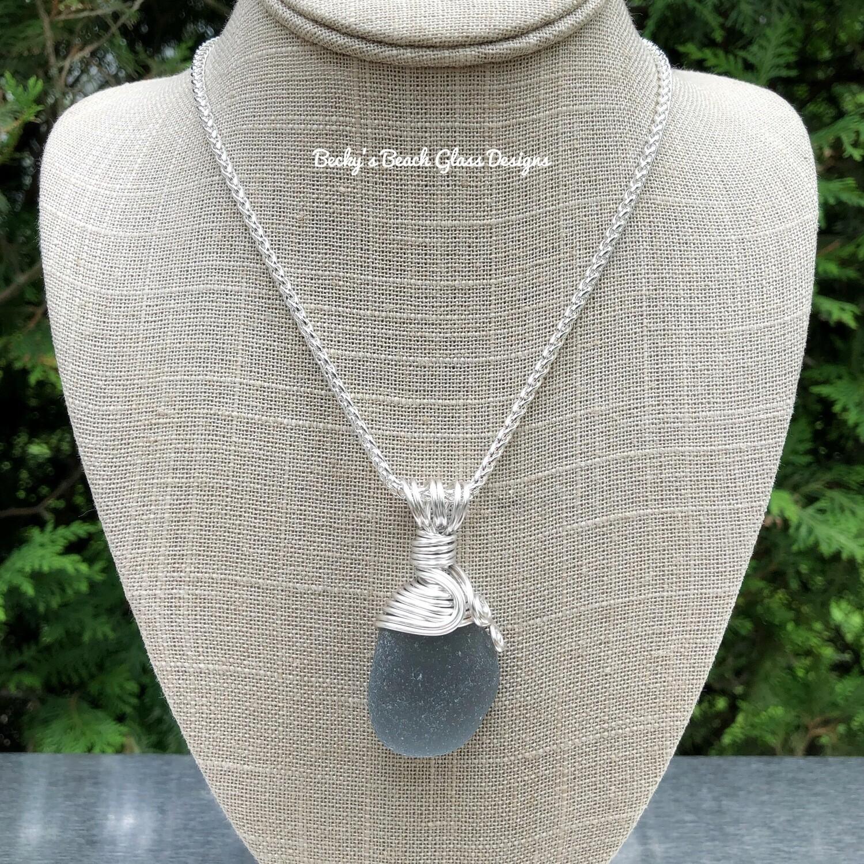 Deep Gray Sea Glass Necklace