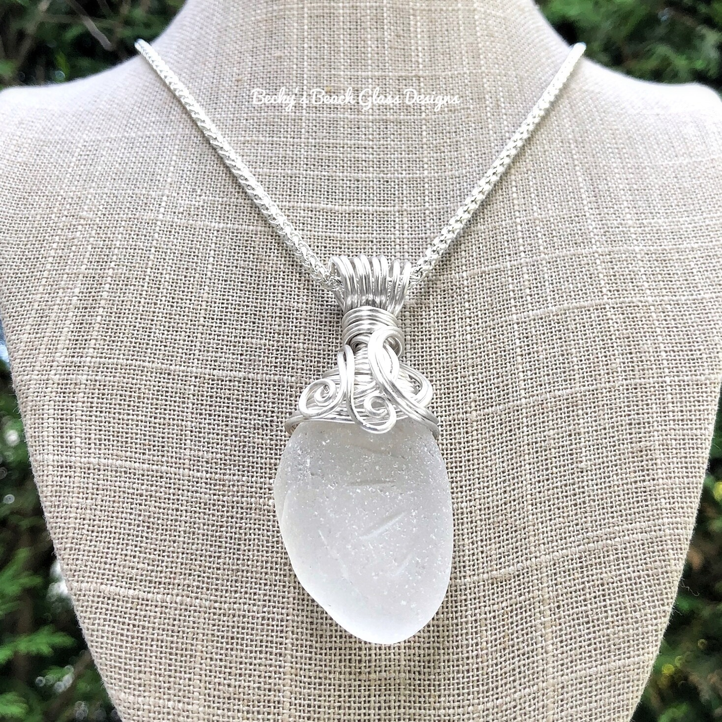 XXL Pure White Sea Glass Necklace