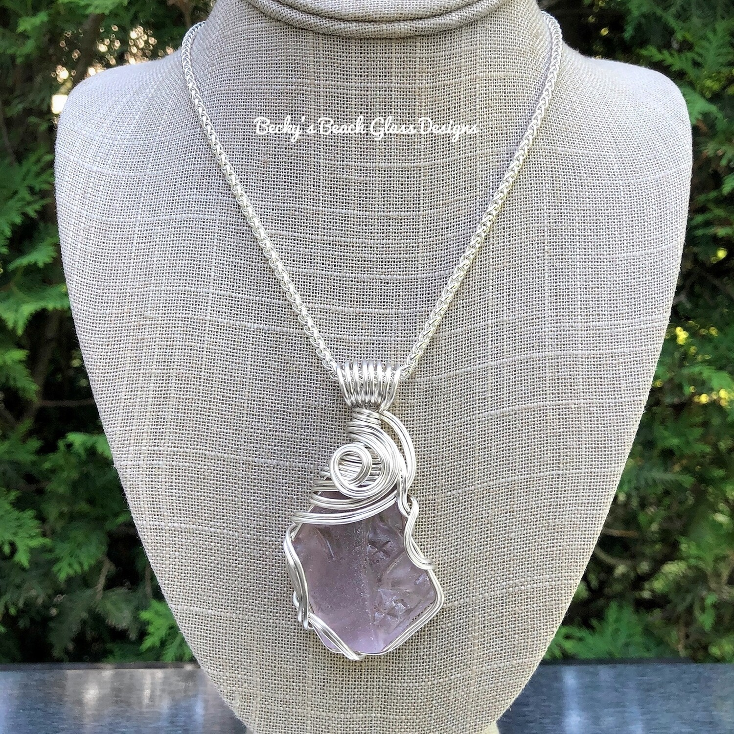 XL Faceted Lavender English Sea Glass Necklace