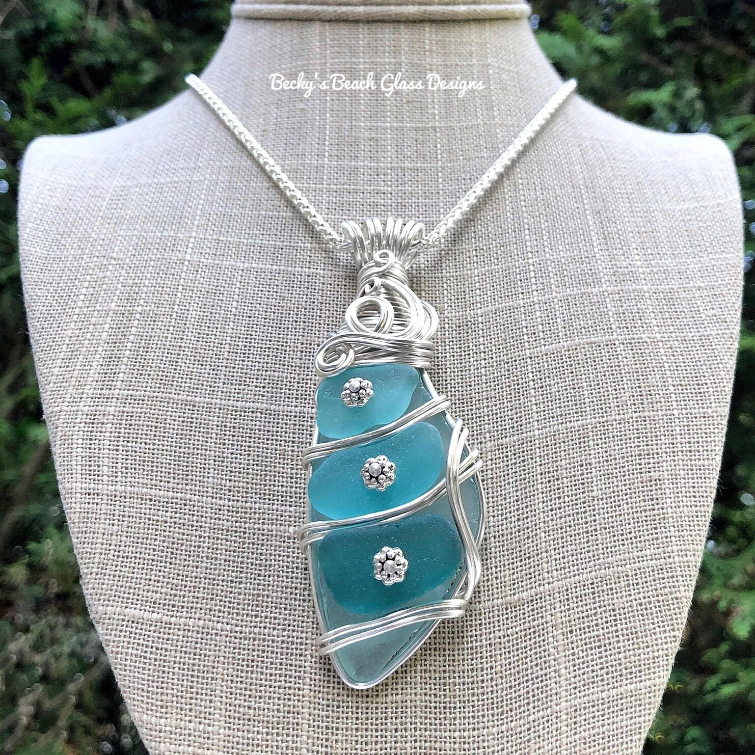 Aqua/Turquoise Ombré Mosaic Sea Glass Necklace