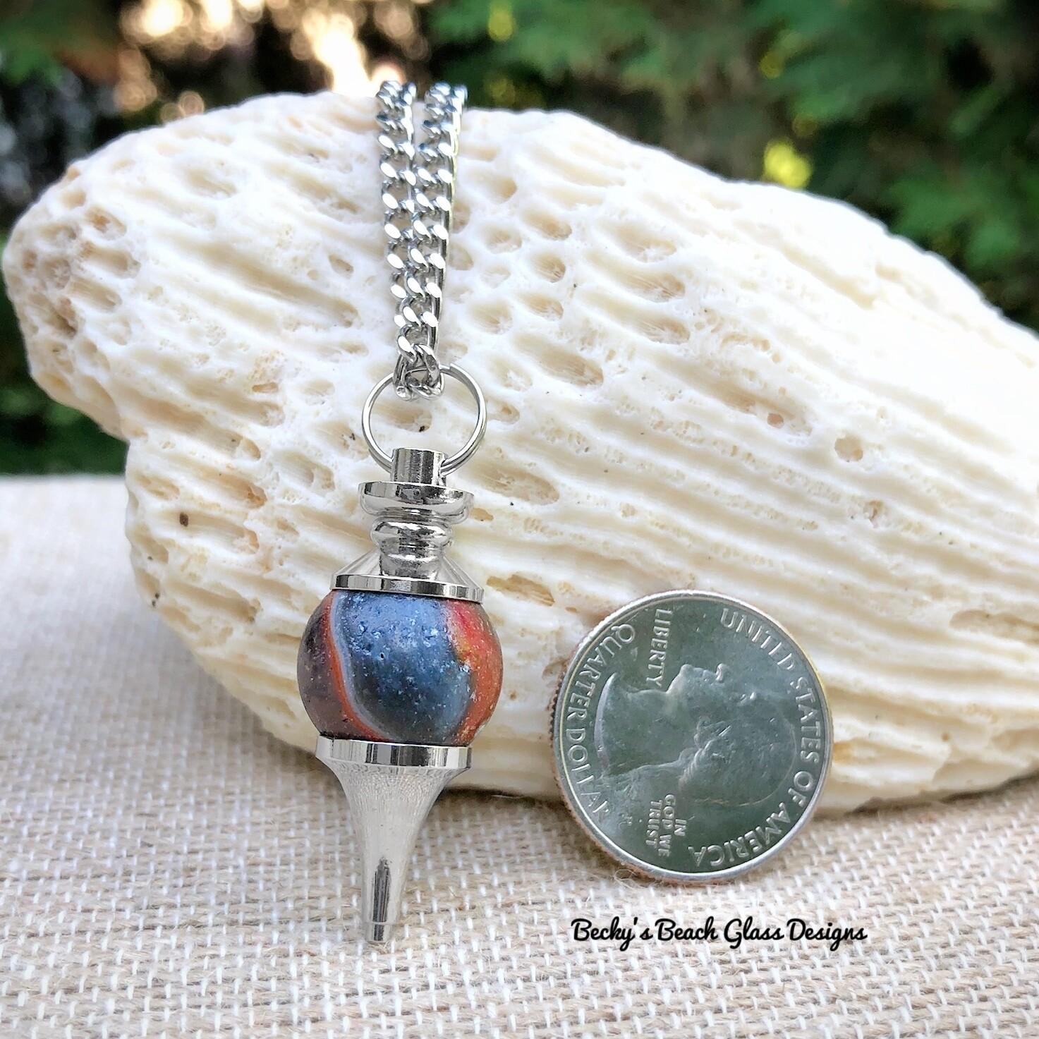 Sea Glass Marble Pendulum Necklace