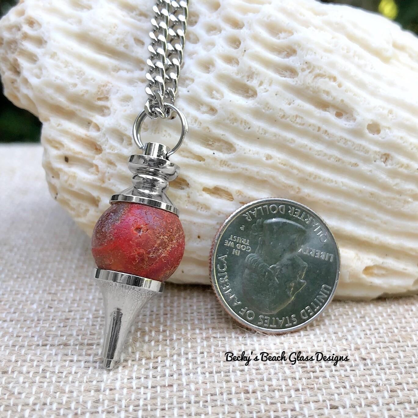 Rare Red Sea Glass Marble Pendulum Necklace