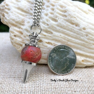 Rare Red Sea Glass Marble Pendulum Necklace