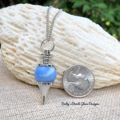 Sky Blue Sea Glass Marble Pendulum Necklace