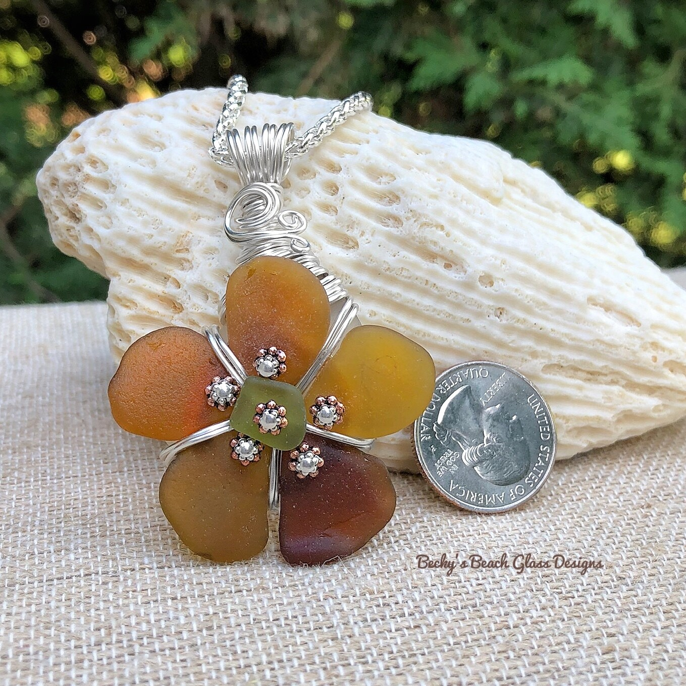 Earthy Shades Sea Glass Flower Pendant Necklace