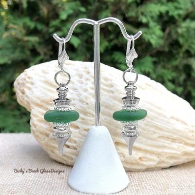 Green Sea Glass Pendulum Style Earrings
