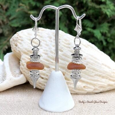Brown Sea Glass Pendulum Style Earrings