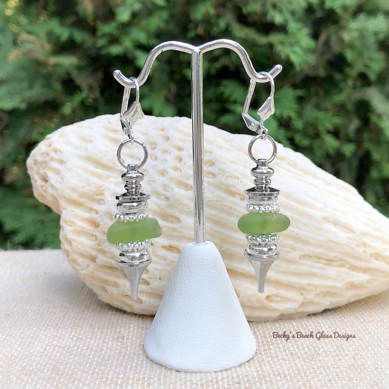 Light Green Sea Glass Pendulum Style Earrings