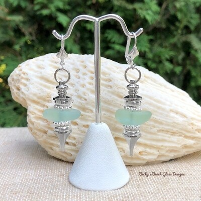 Sea Foam Sea Glass Pendulum Style Earrings