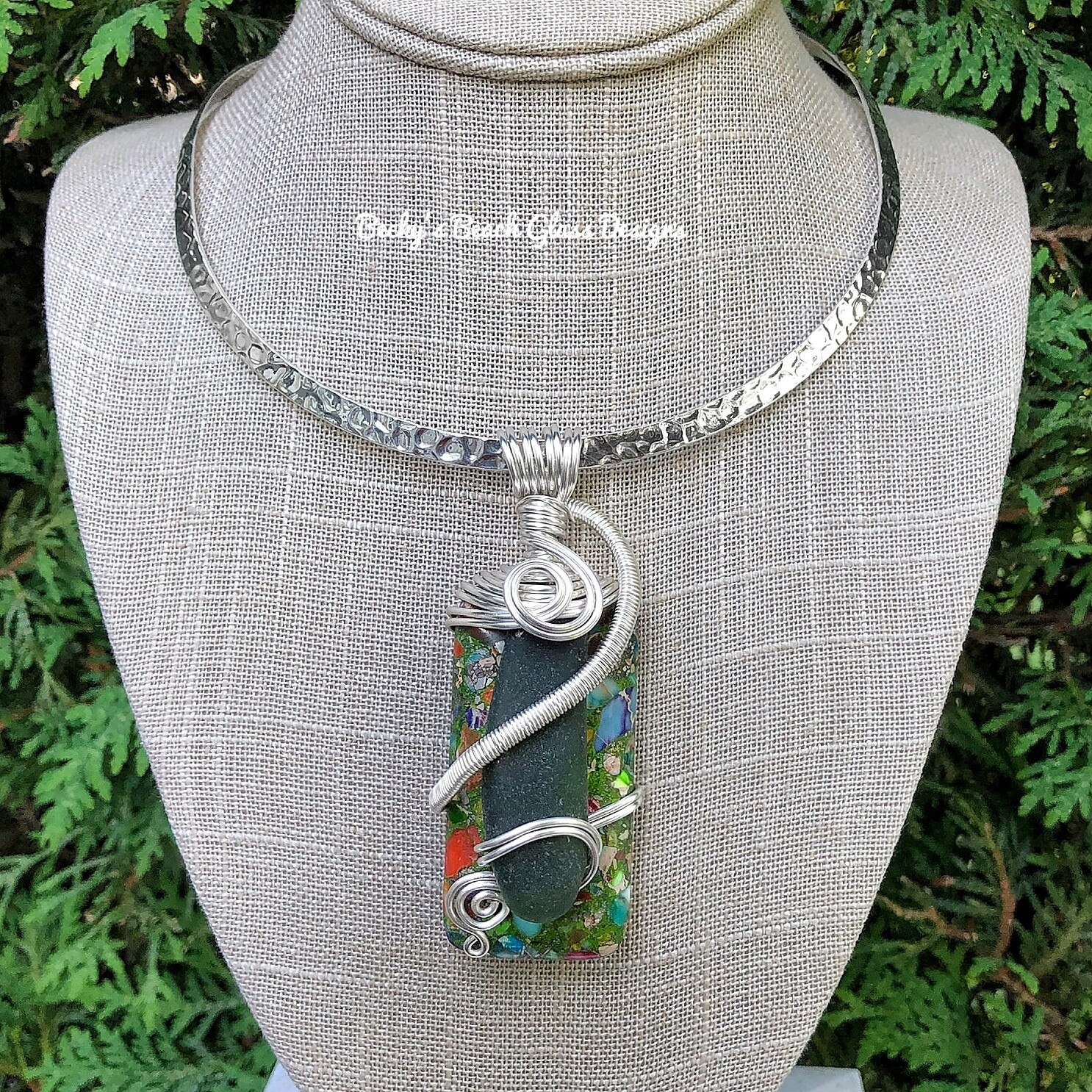 Statement Sea Glass & Gemstone Combo Necklace