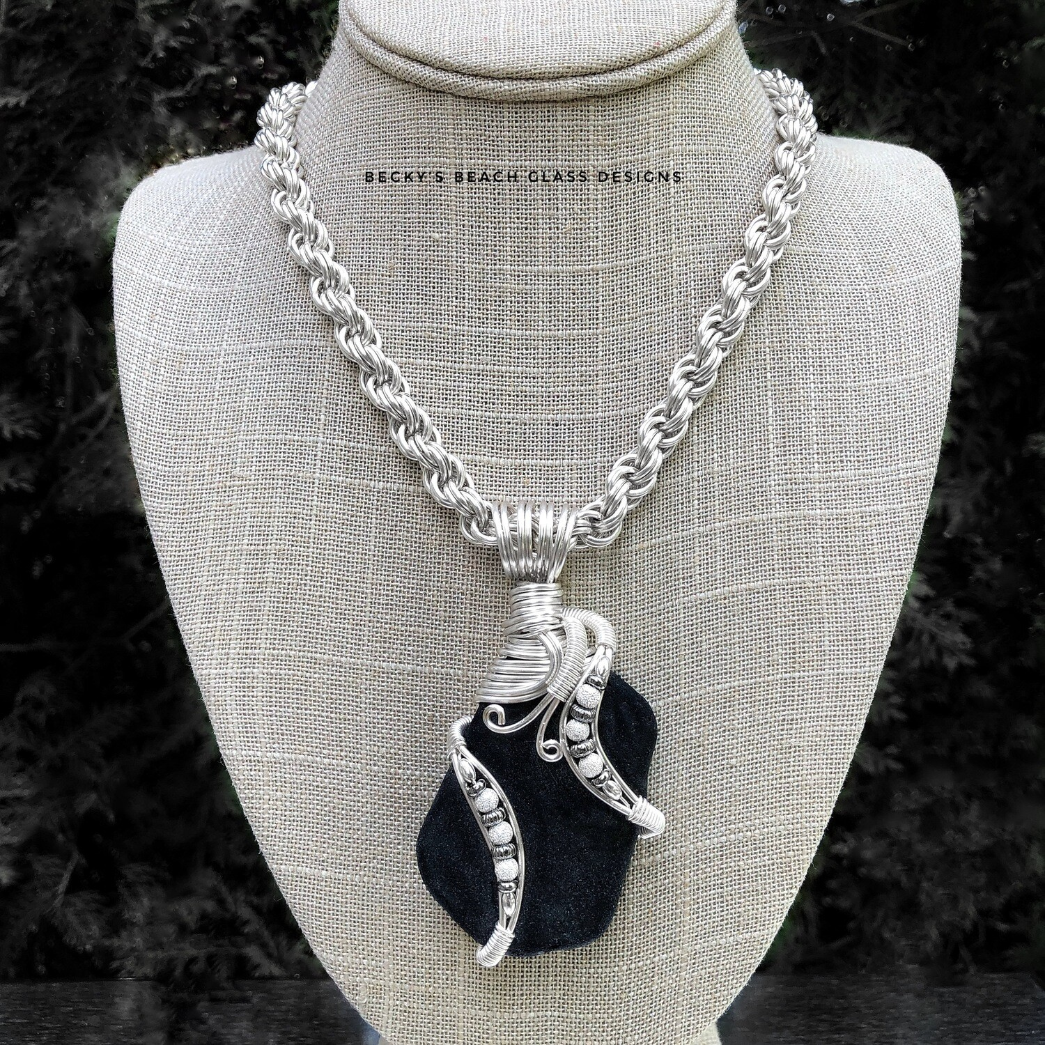 Black Scottish Sea Glass Necklace W/Handmade Chain