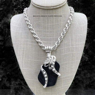 Black Scottish Sea Glass Necklace W/Handmade Chain