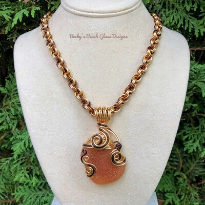 Gorgeous Amber Sea Glass Necklace W/Handmade Chain