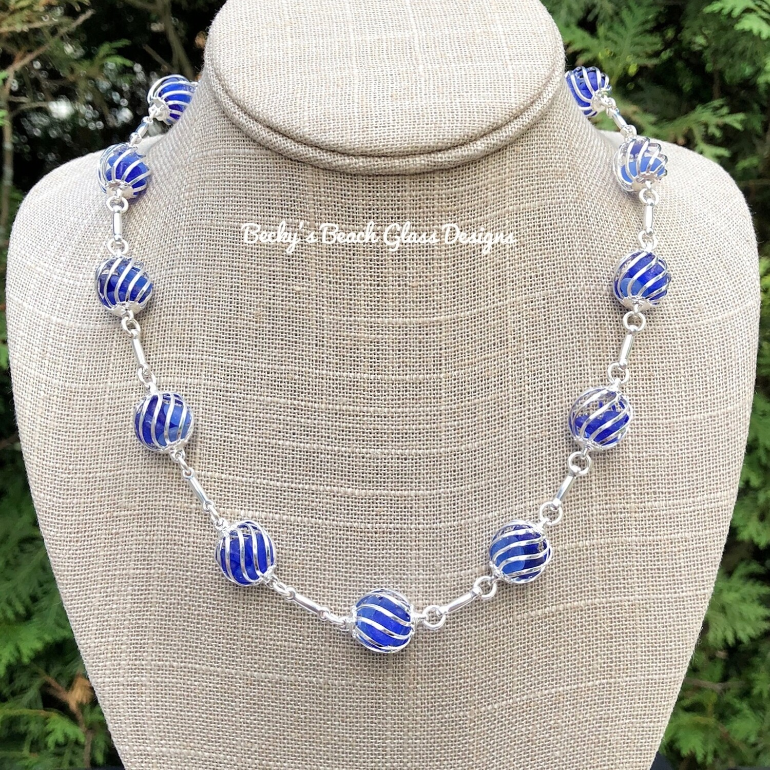 Cobalt Caged Sea Glass Necklace