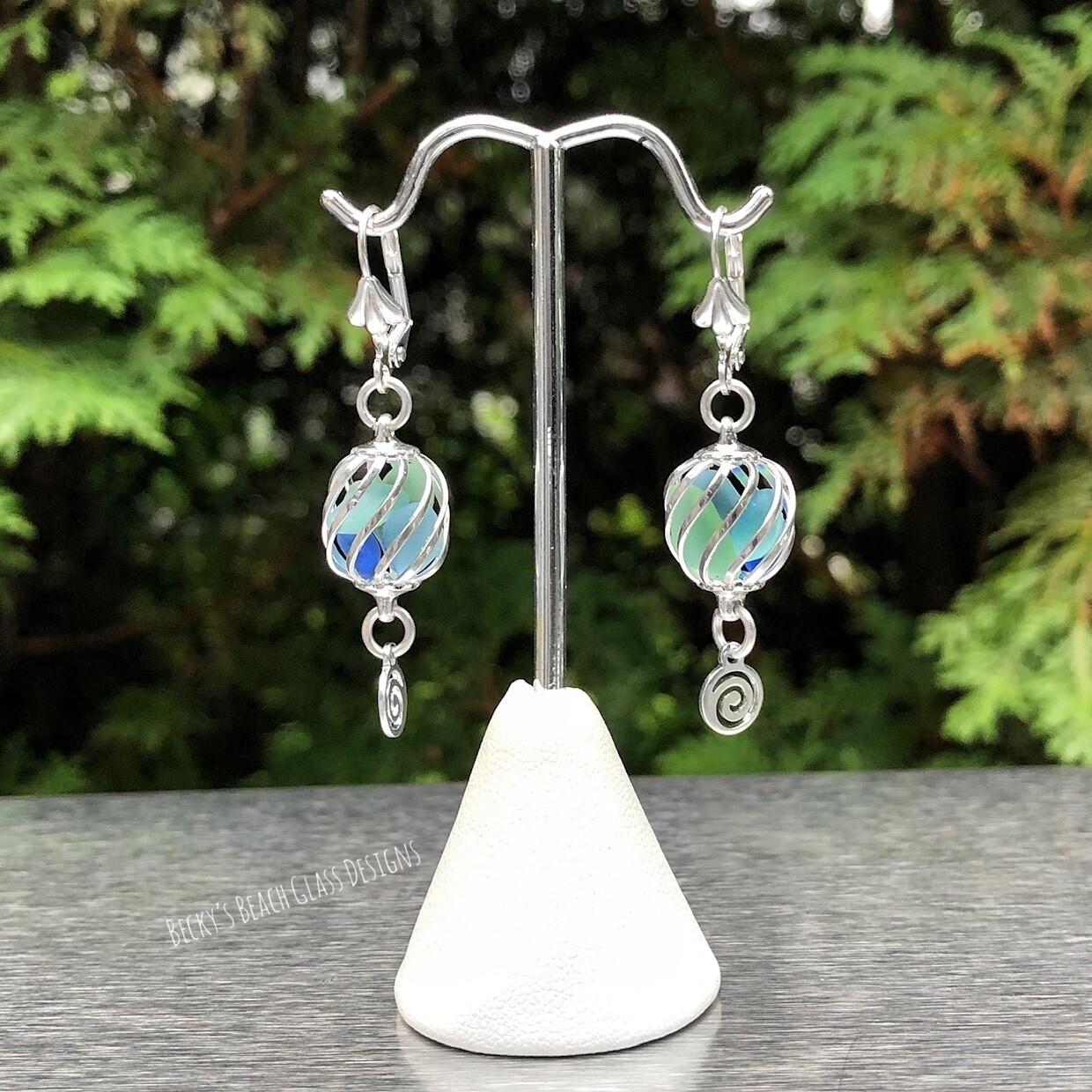 Sea Foam & Aqua Caged Sea Glass Earrings