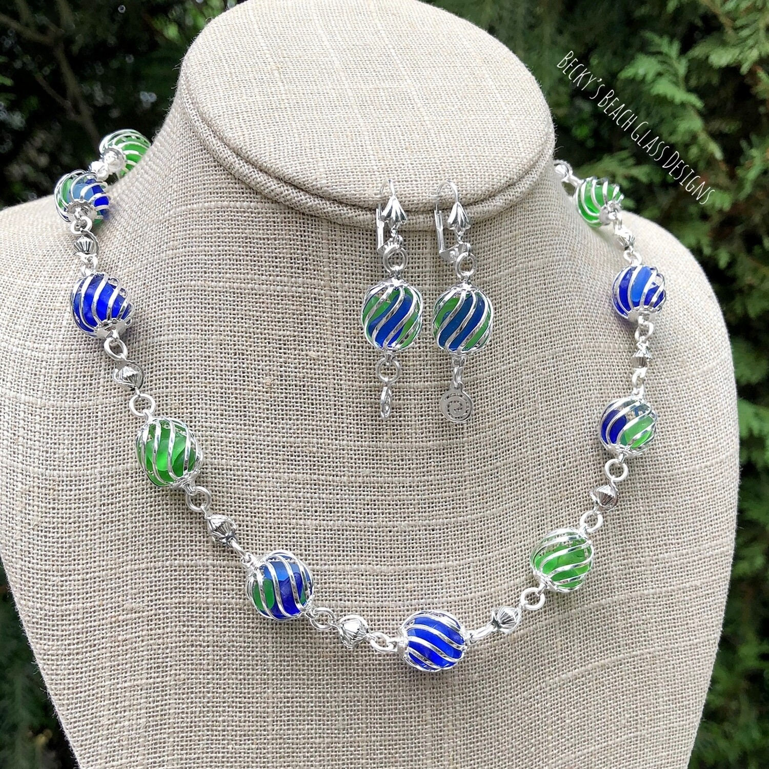 Cobalt and Green Caged Sea Glass Necklace & Earring Set