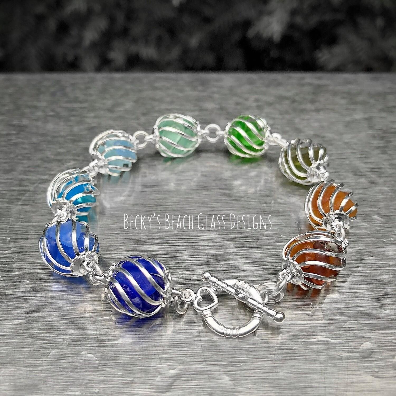 Colorful Caged Sea Glass Bracelet