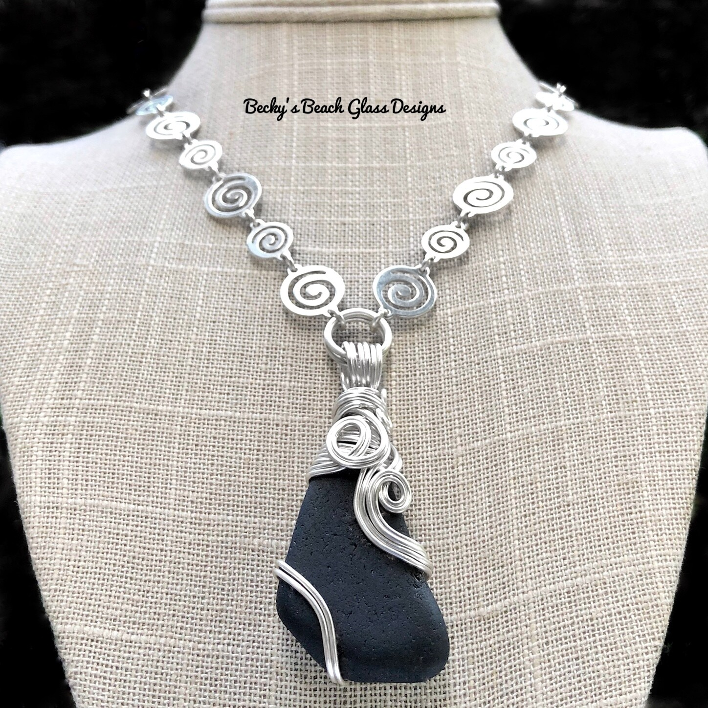 Beautiful Black Scottish Sea Glass Necklace