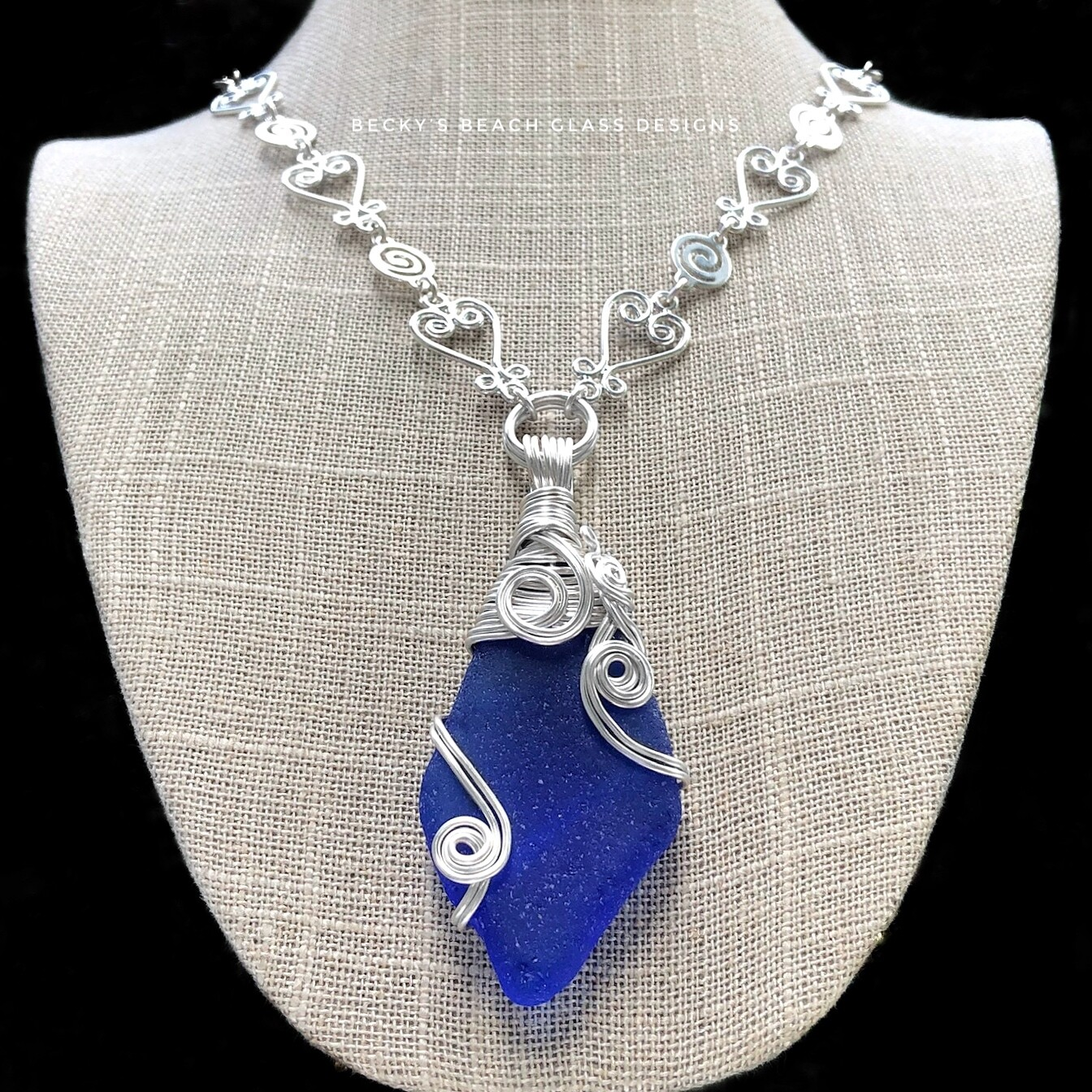 Beautiful Blue Russian Sea Glass Necklace