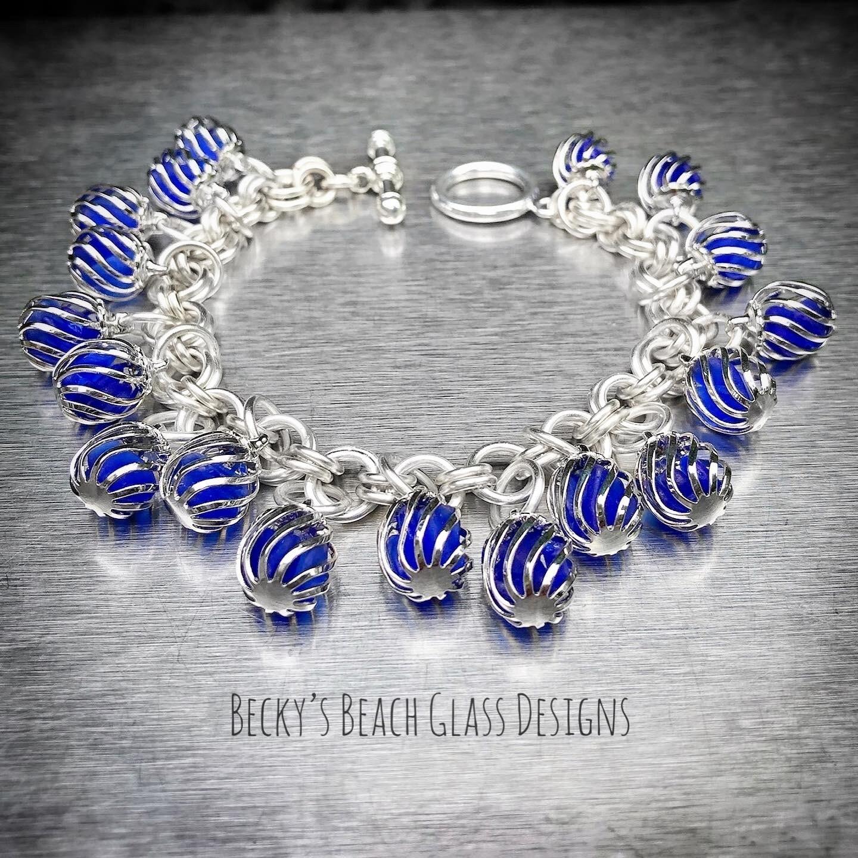 Caged Cobalt Seaglass Cha Cha Bracelet