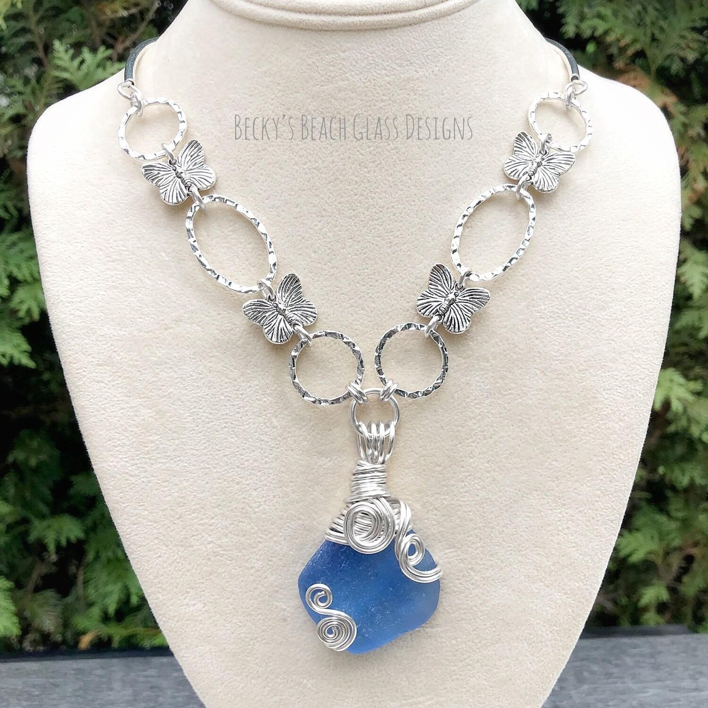 Beautiful Blue Russian Sea Glass Necklace w/Butterfly links