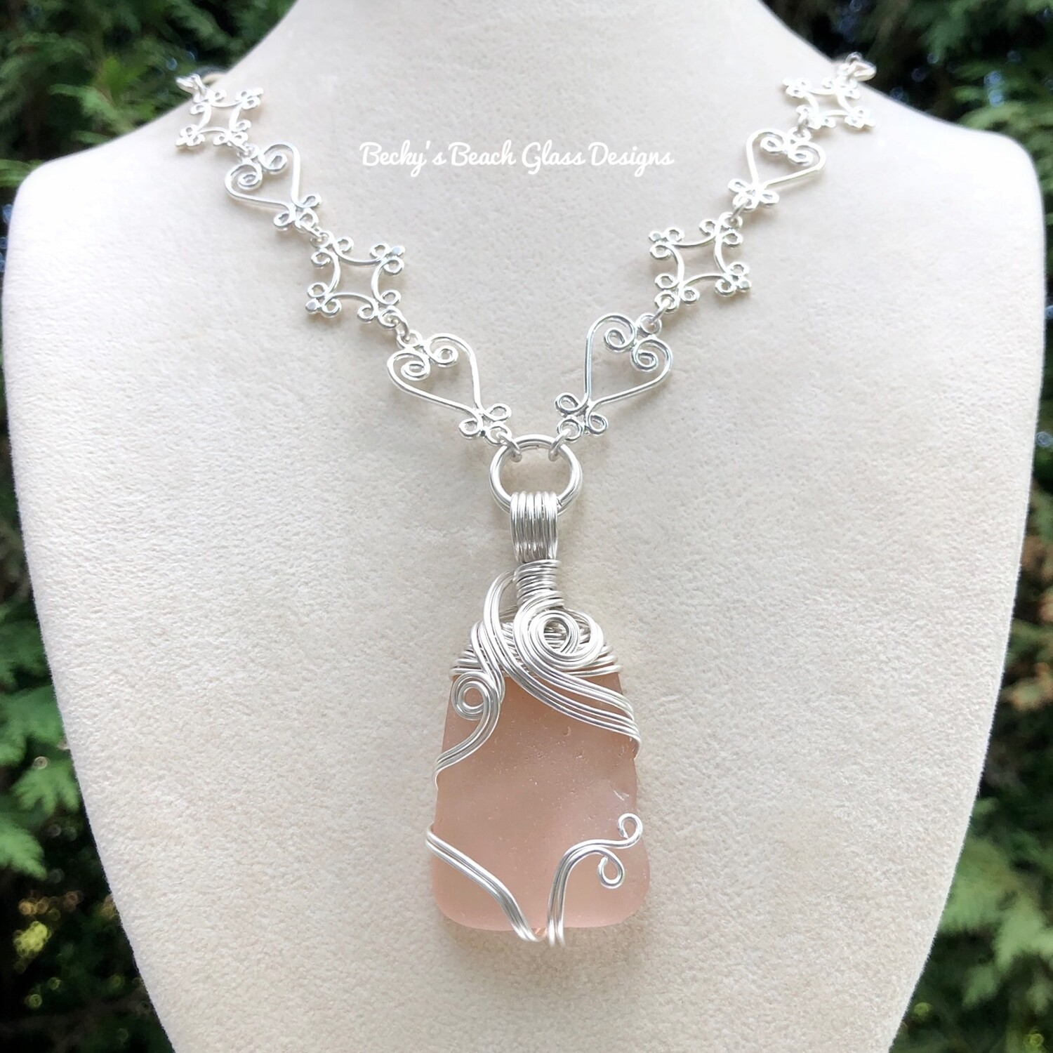 Gorgeous Pink Sea Glass Necklace