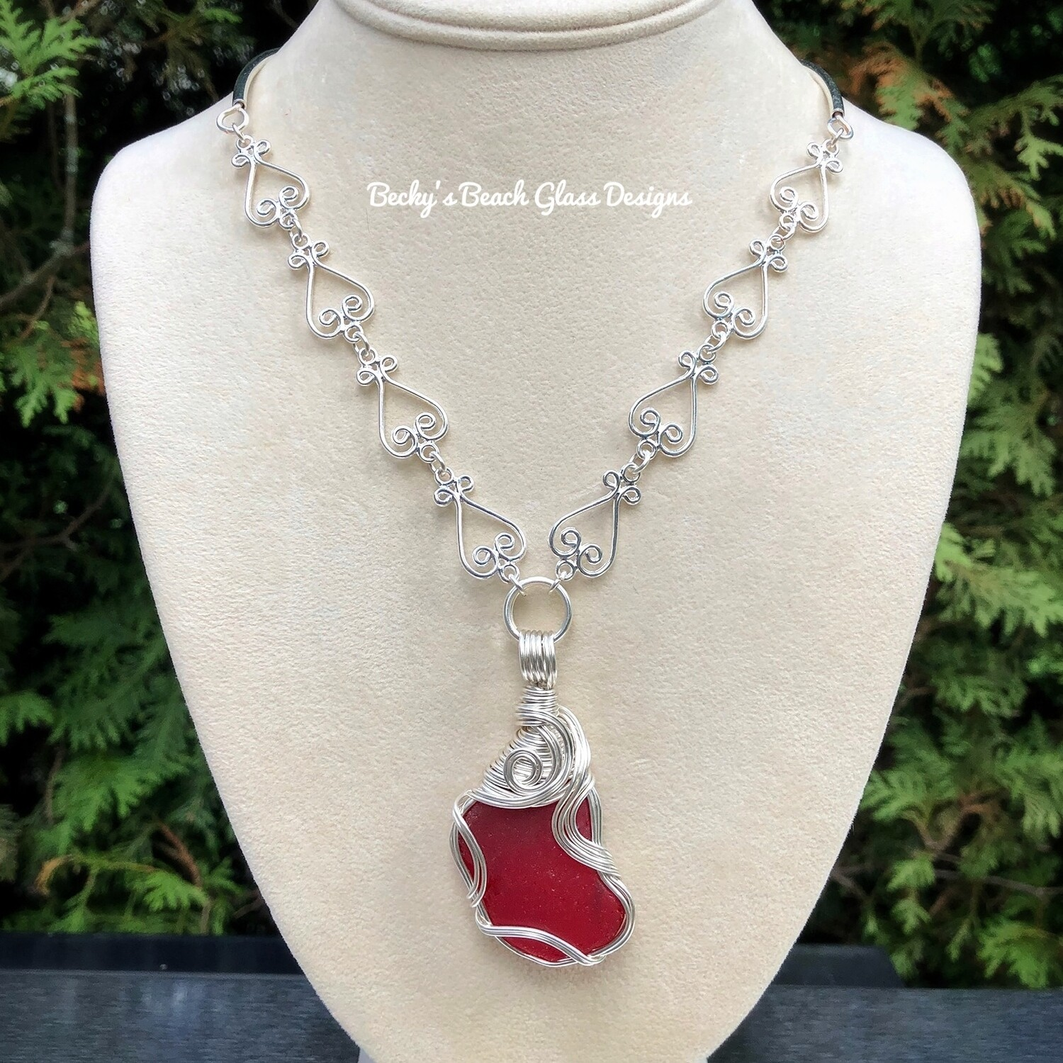 Gorgeous Rare Red Sea Glass Necklace