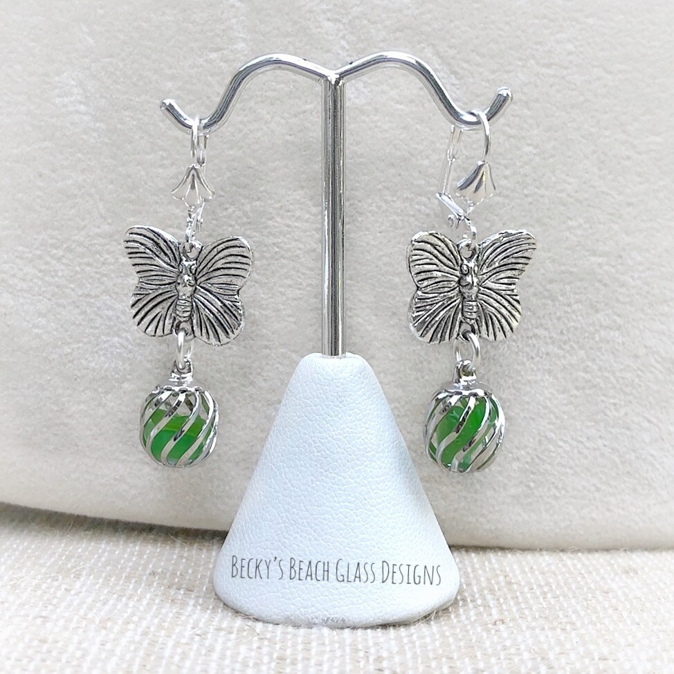 Butterfly Caged Sea Glass Earrings