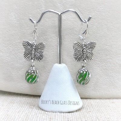 Butterfly Caged Sea Glass Earrings