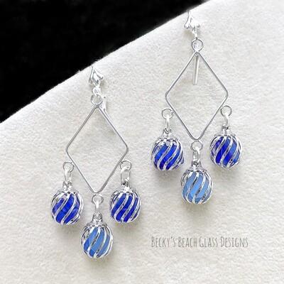 Multi blue Caged Sea Glass Earrings