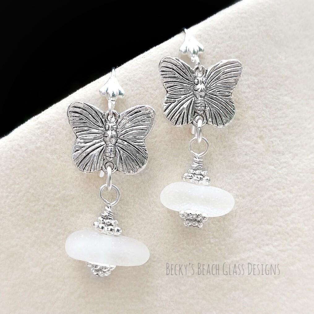 Butterfly Sea Glass Earrings